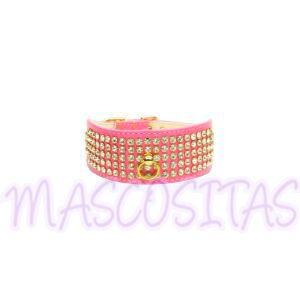 Collar con cristales Swarovski para perro en un precioso color rosa. ¡Combínalo con la correa!