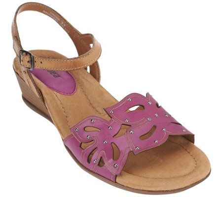 Earth Leather Laser Cut Wedges w/ Adjustable Strap - Orchid