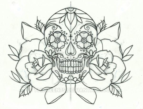 Sugar candy skull and roses tattoo design by thirteen7s.deviantart.com on @DeviantArt