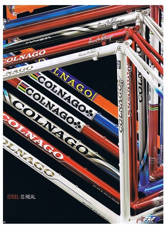 Colnago steel. They're missing the best one though. RIP Art Decor.