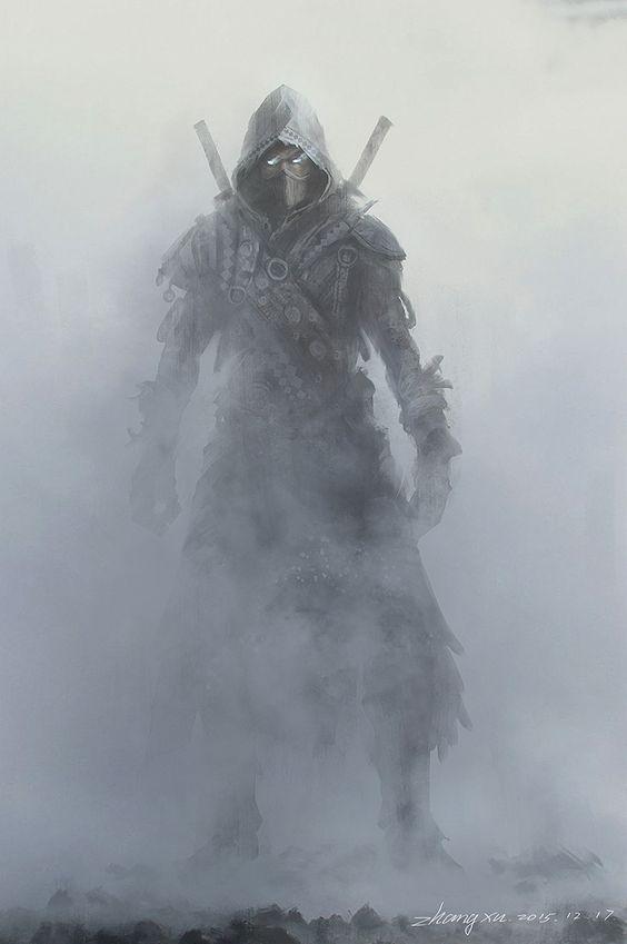 thief assassin human mask hood dual sword fog town