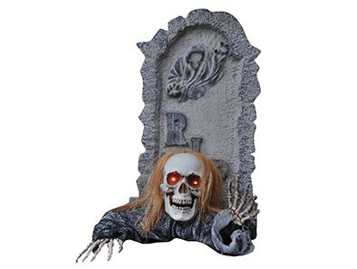 Create an eerie graveyard scene! This 2 piece cemetery set includes poseable skeleton arms with hands, and a skull whose eyes light up with a simple on/off switch on the back!