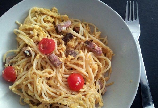 Maradék spagetti maradék grill hússal