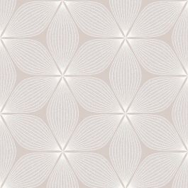 Vibration Geometric Glitter Wallpaper Mink Coloroll M1022 This stylish Vibration Geometric wallpaper gives a modern twist to a retro inspired wallpaper. The design features a classic geometric flower pattern with a high shine silver glitter finish and a raised matte white outline for a contemporary feel. This is set on a matte background in a soft mink tone. Easy to apply, this high quality vinyl wallpaper would make a great statement in your home when used for a feature wall or to decorate…