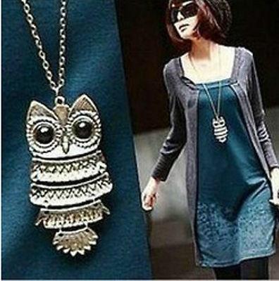 Collana + ciondolo donna stile vintage gufo portafortuna bronzo tibetano + confezione regalo