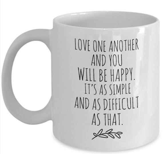 Wedding Mug, Love One Another, Be Happy, Wisdom, Wedding Quotes, Love Quotes, Engagement Gift, Weddi   – Products