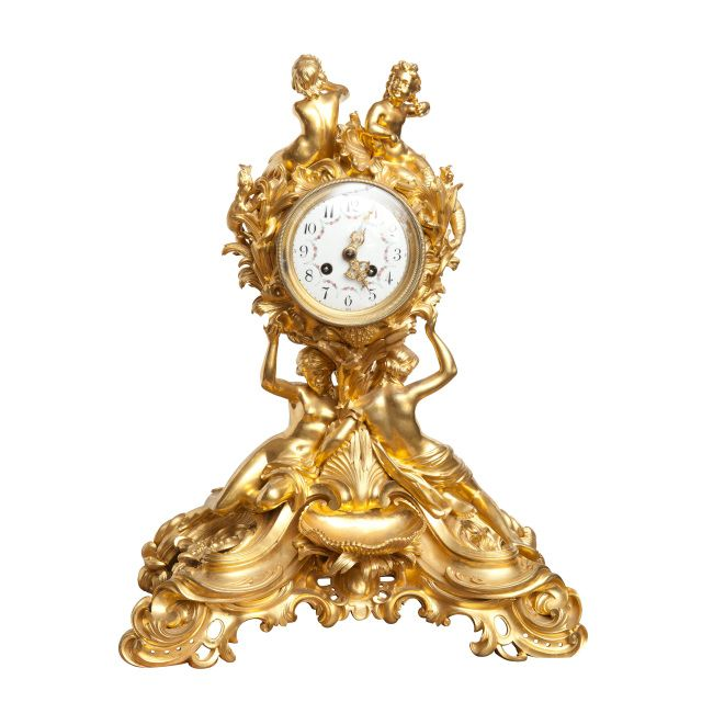 19th century gilt ormolu nautical mantel clock