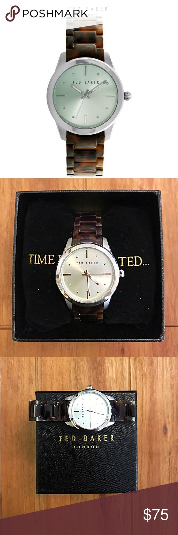 NWOT Ted Baker Tortoise and Silver Watch NWOT Ted Baker women's watch. It is silver, tortoise, and has a silver/blue face. It works great and has been worn once. Comes in original box and with tags attached to the underneath of the face. Ted Baker London Accessories Watches