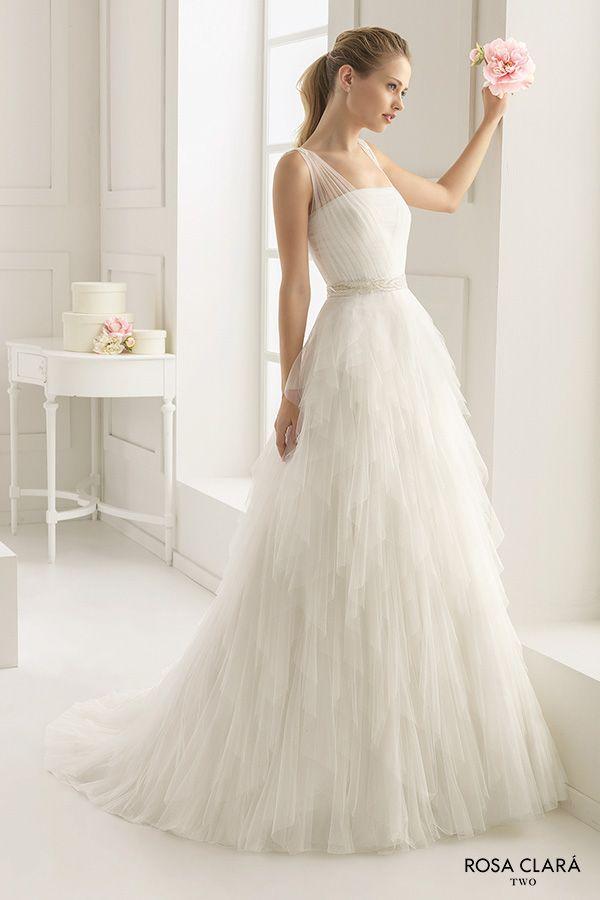 rosa clara two spring 2016 sleeveless sheer strap straight across neckline tulle layered romantic a line wedding dress sweep train (ecuador) mv
