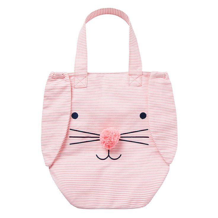 Girls pink stripe tote bag featuring bunny face and floppy ears.