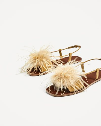 Image 2 of FLAT SANDALS WITH FEATHERS DETAIL from Zara