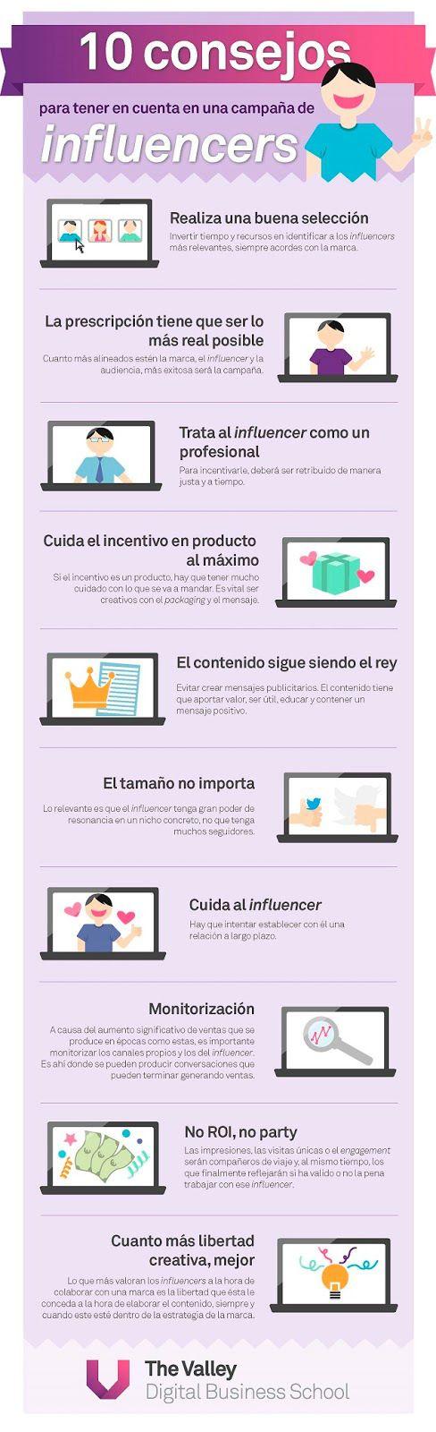 10 consejos para tu campañas con Influencers #infografia #infographic #marketing