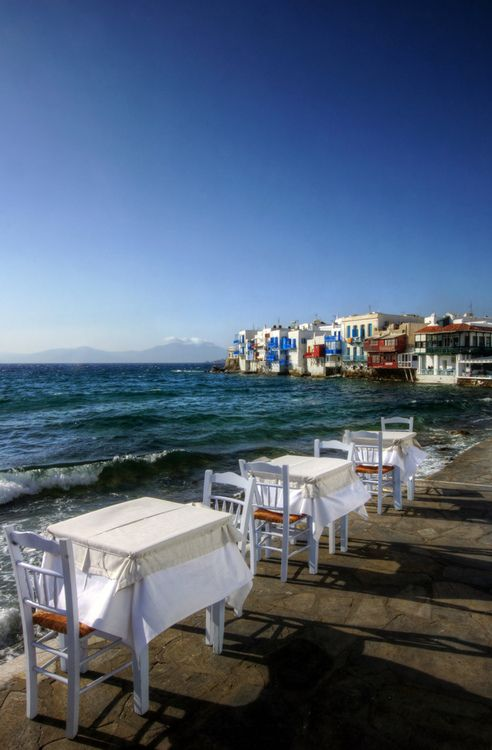 Perfect setting for dinner. Little Venice in Mykonos ~ Greece