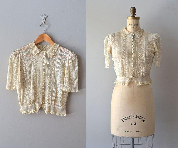 vintage 30s blouse / sheer lace 1930s blouse / Cyme by DearGolden