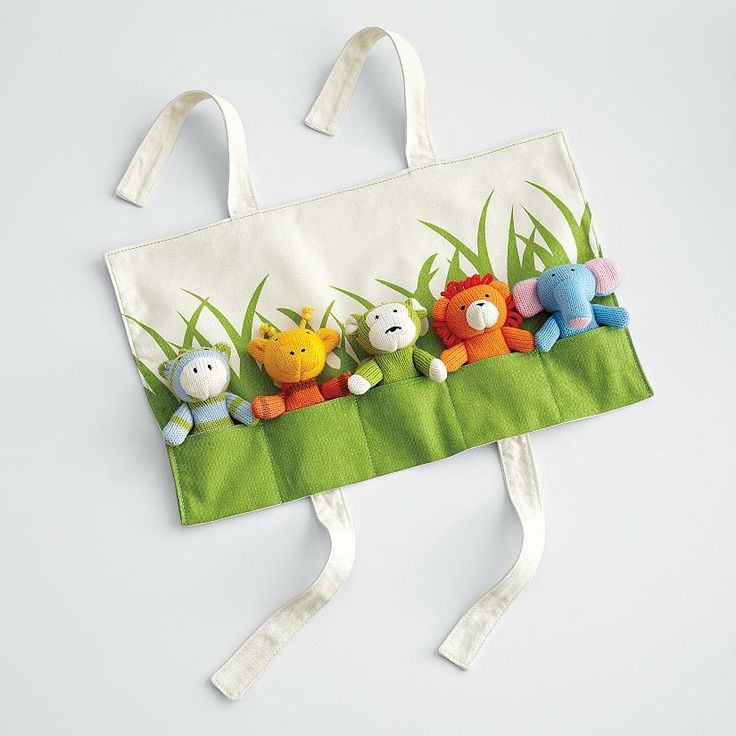 LOVE, LOVE, LOVE THESE - Knit jungle animal finger puppets. The wrap can be be personalized with your child's name too.