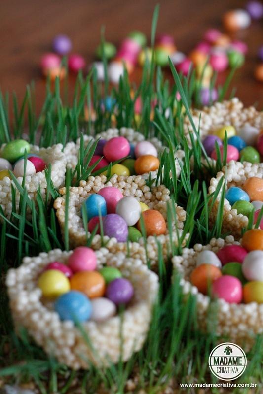 Cute idea for easter - Very easy to make! #riceflakes #candy #basket - Cestinha de Flocos de arroz - Páscoa - Easter - Madame Criativa