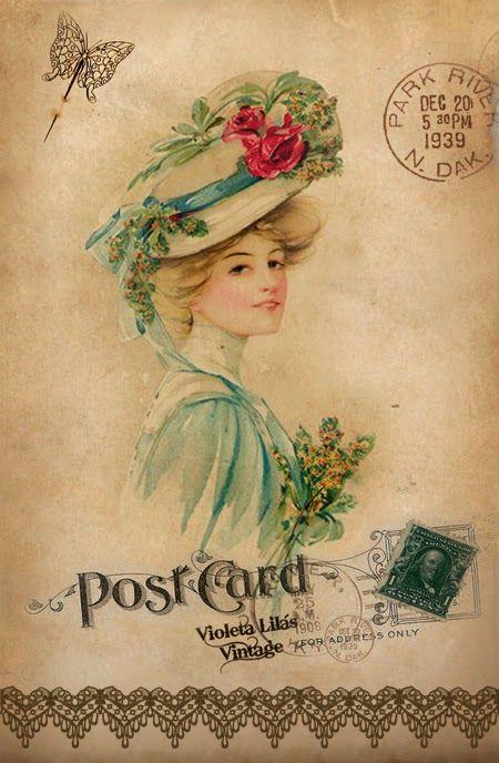 Violeta lilás Vintage: Post Cards Damas Antigas