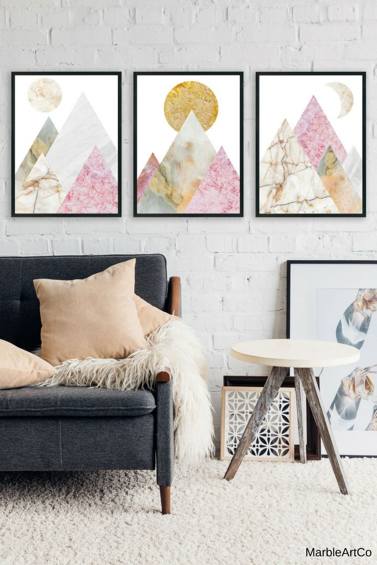 Framed Wall Art For Living Room Modern Table Lamps 10 Save Set Of 3 Nature Prints Pink Marble Mountain Decor Large Scandinavian A