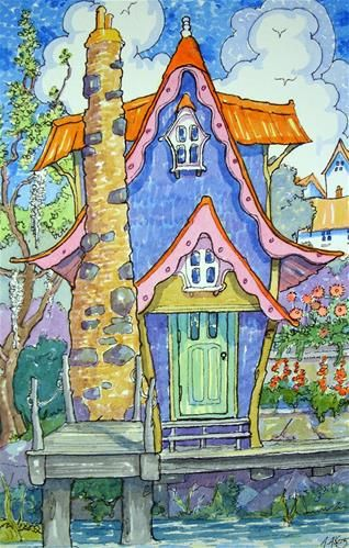 """Daily Paintworks - """"Bayou Bungalow Storybook Cottage Series"""" - Original Fine Art for Sale - © Alida Akers"""