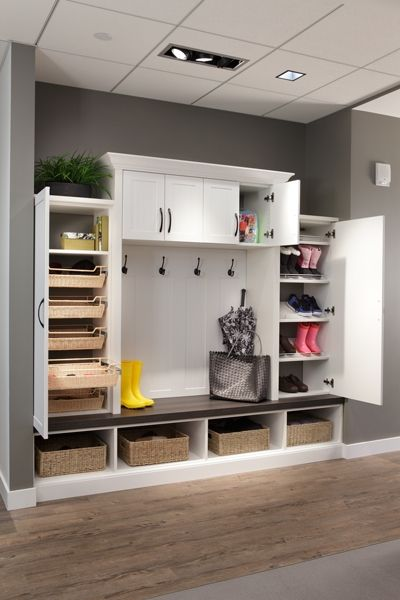 custom entryway storage solutions including mudroom lockers and boot benches planning design and