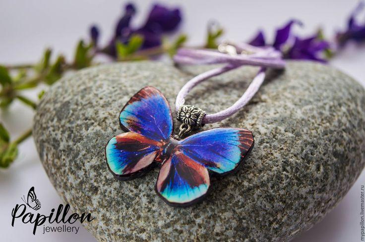 Купить Кулон Бабочка фиолетовая - фиолетовый, кулон, бабочка, летнее украшение…