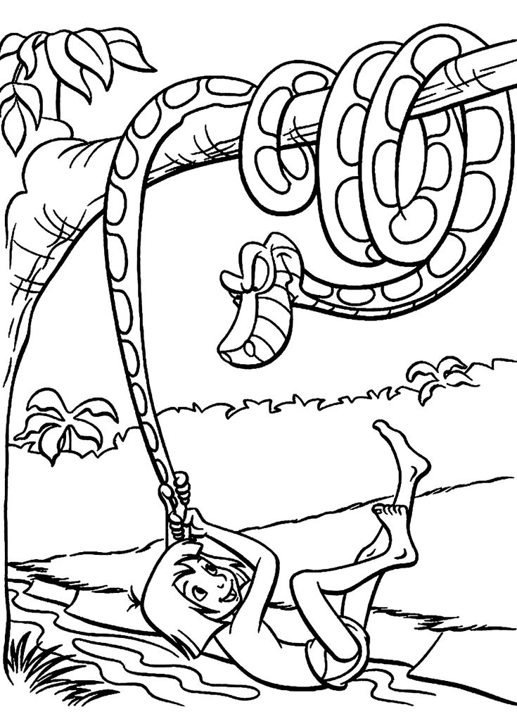 Mowgli With Kaa The Python Coloring Pages