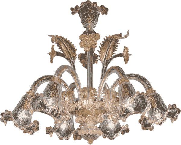 #lampadario #vetro #murano. Lampadario in vetro di murano trasparente, oro e rosa. Sistema con 6 luci. H. 55 cm – ø. 70 cm. Disponibili su richiesta varianti di dimensioni e colori. > http://danielebiasin.it/portfolio-items/lampadario-in-vetro-di-murano-trasparente-oro-e-rosa/