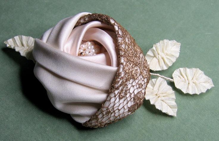 Silk Satin & Antique gold lace cabochon rose