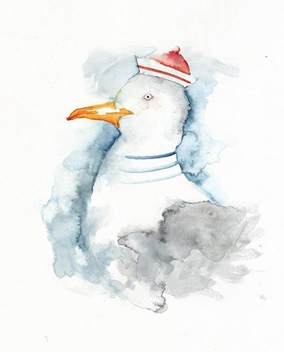 Illustration Kunstdruck Möwe Aquarell Möwe Vogelaquarell