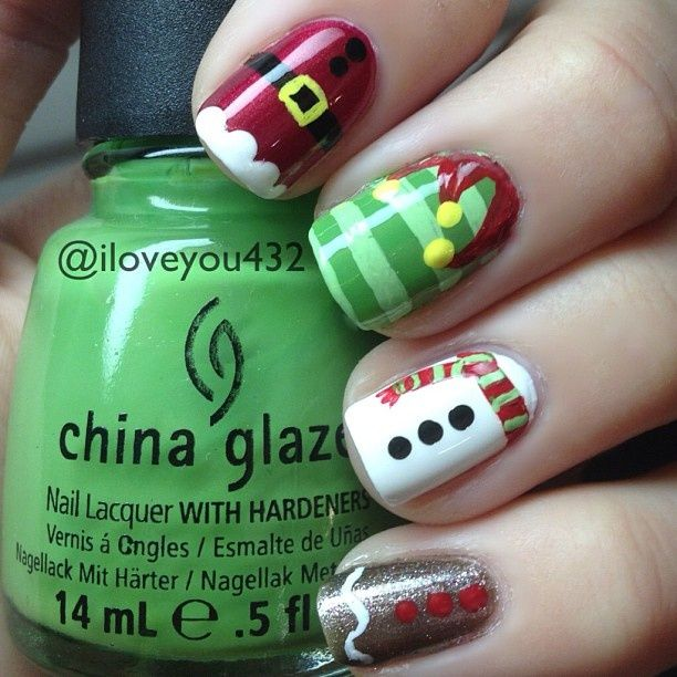 Santa Elf Snowman And Gingerbread Man Nails Christmas Nail Art