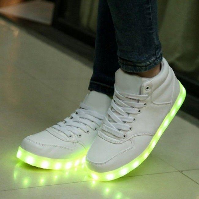 LED Licht Schoenen Hoog Wit Dames