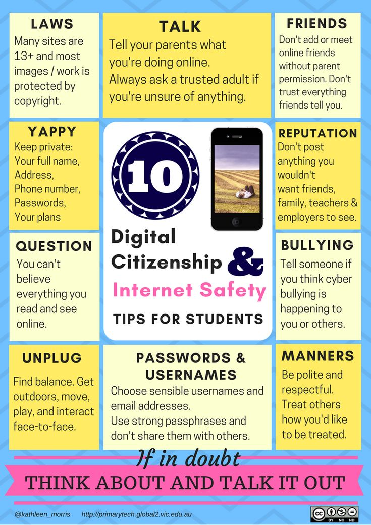 Poster with 10 digital citizenship and internet safety tips for students. Download free PDF | Cyber safety | Stay safe online | Cyberbullying