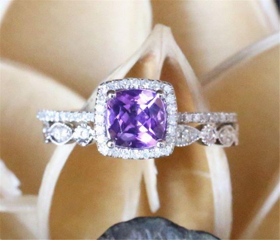 Hey, I found this really awesome Etsy listing at https://www.etsy.com/listing/504165318/amethyst-wedding-ring-set6mm-cushion-cut