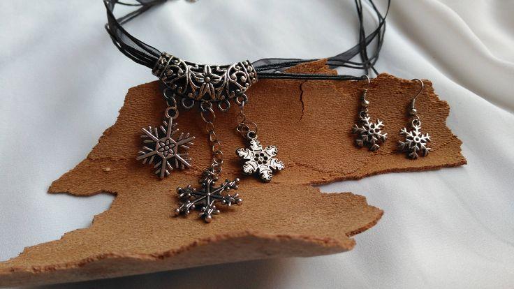Conjunto de collar y pendientes de copos de nieve. Invierno de FenixArteSana en Etsy