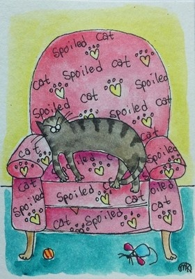 tabby cat red lazy boy chair  folk art watercolor ACEO original painting