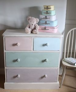 Pretty Vintage Solid Pine Painted Chest Of Drawers In