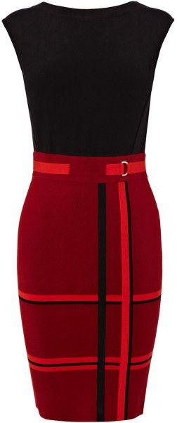 Karen Millen Modern Colourblock Check Knit in Red | Lyst