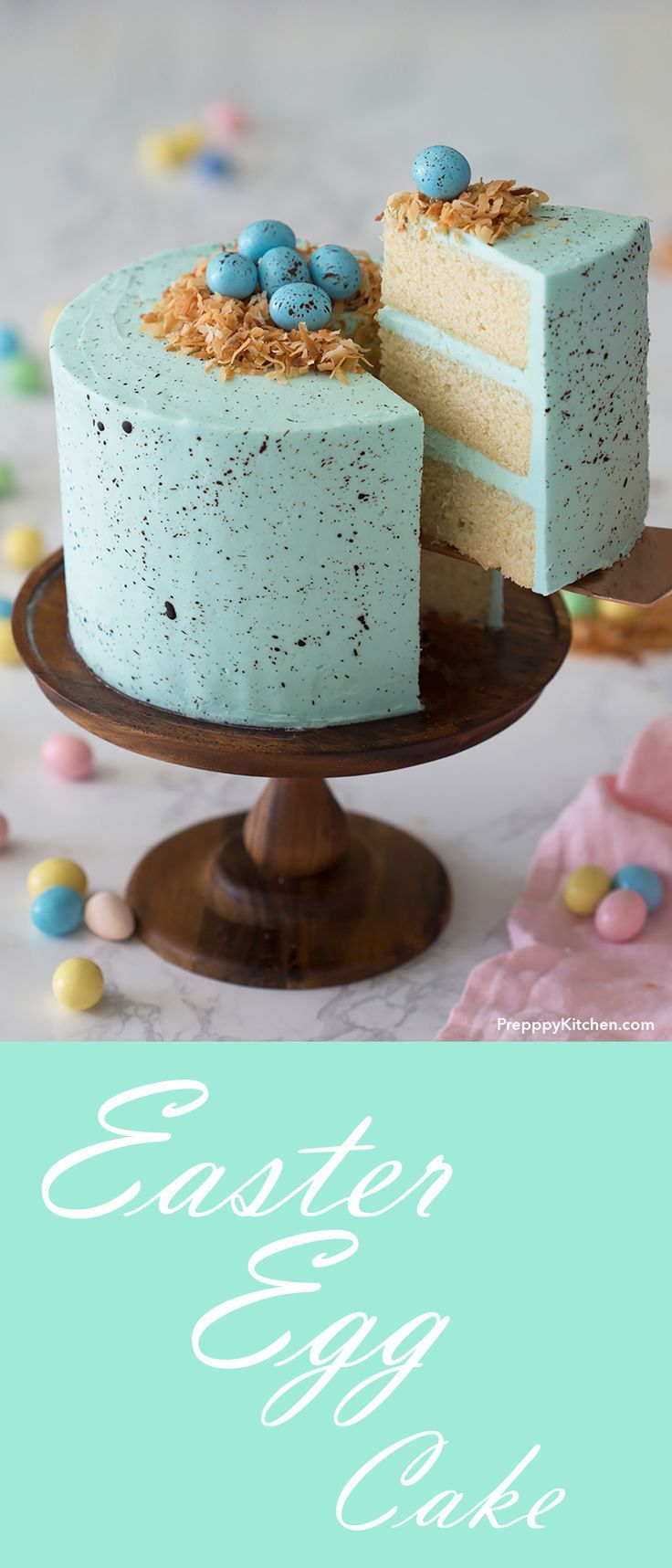 Easter Egg Cake - Classic Robin's Egg Recipe made with moist vanilla cake and a simple vanilla buttercream   Easter Egg Ideas, Easter Egg Chocolate Recipes, Easter Egg Dessert, #easter #recipes #desserts #chocolate #vanilla