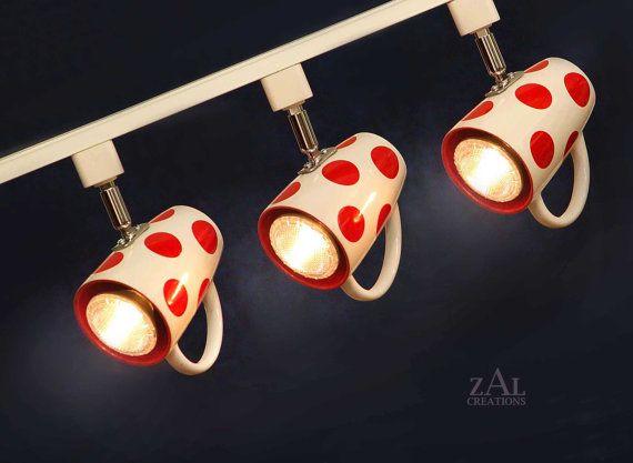 Polka dotted Coffee mugs Track Lighting Fixture. 3 Track lights & Track.