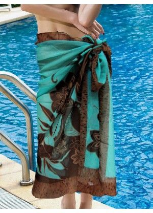 Blue Printed Tulle Women's Cover Ups