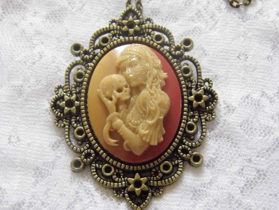 Bronze Day of Dead Skull Lolita Lady Child Necklace Pendant Gothic PAGAN