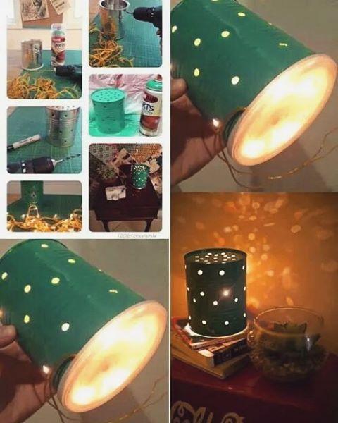 Luminária artesanal feita com lata de leite em pó,vários furos e luzinhas de natal.  #artesanato  #customização