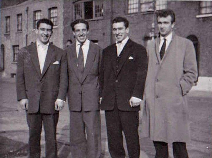 The Kray twins (left and midde right) with Dickie Morgan (left middle) and Laurie O'Leary in Bethnal Green