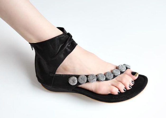 Wholesale Casual Women's Flat Sandals With Beading and Zipper Design (BLACK,38), Sandals - Rosewholesale.com