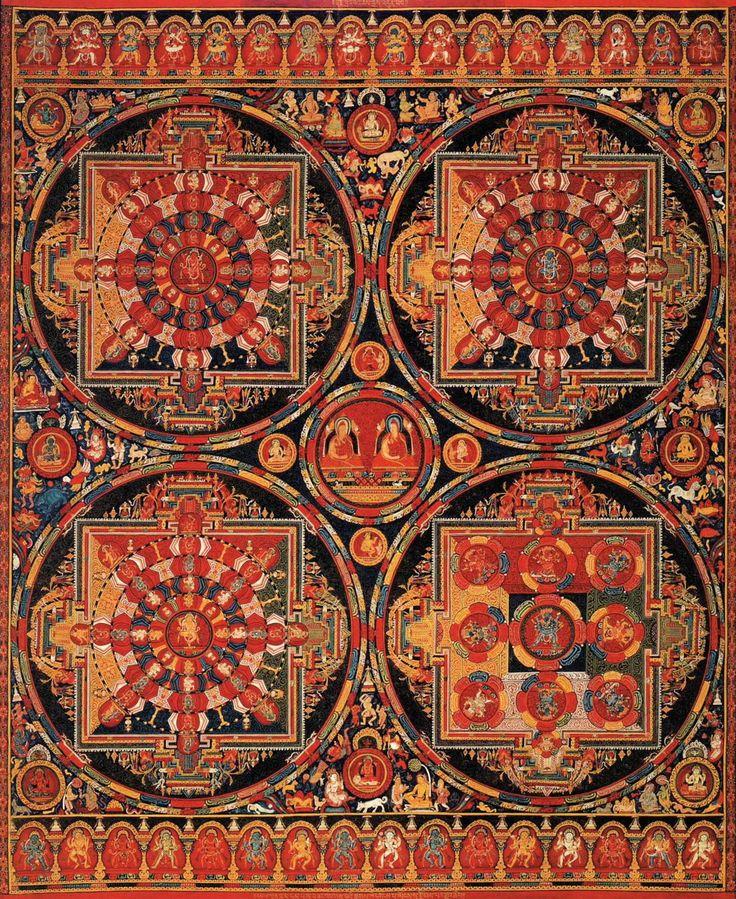14th century Tibetan thangka painting of mandalas (via File:Four Mandalas.JPG - Wikimedia Commons