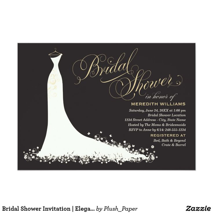 zazzle wedding invitations promo code%0A Bridal Shower Invitation   Elegant Wedding Gown