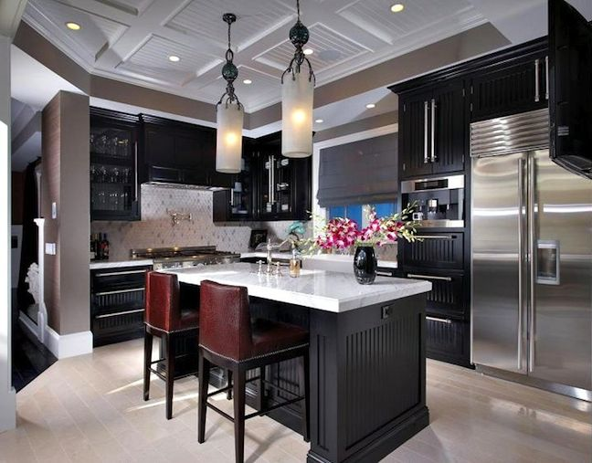 Just love espresso dark cabinets - especially with a marble back splash.