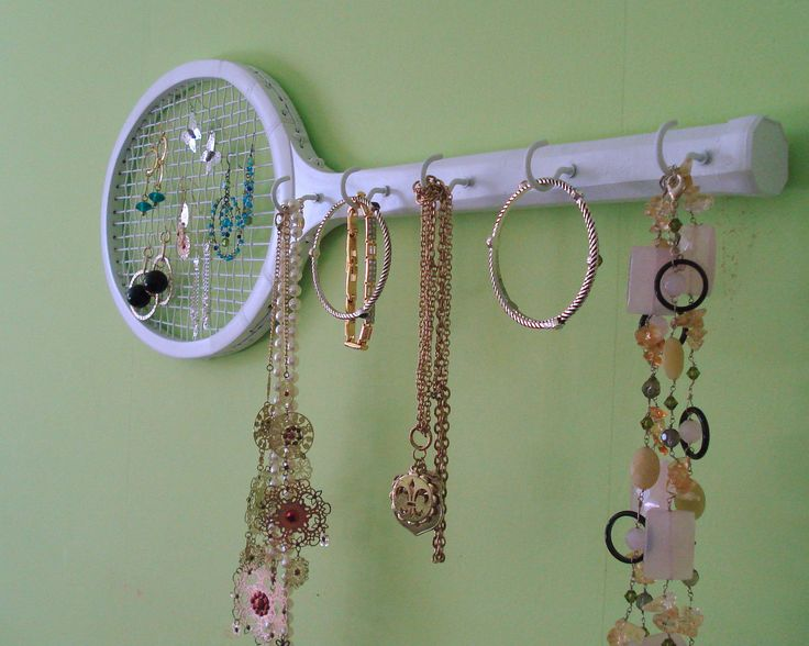 Vintage / Retro Wooden Tennis Racket Jewelry Storage / Holder / Wall Decor - Up cycled Painted Soft White. $28.00, via Etsy.