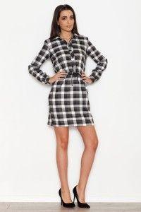 Sukienka w kratkę K256 - czarna