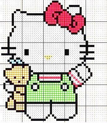 Hello Kitty - Free Cross Stitch Pattern / Hama Bead Chart